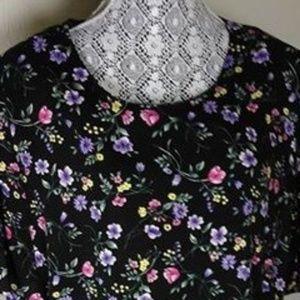 VTG Sag Harbor Floral Print Black shirt SZ 22/2X